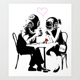 Banksy Diving in Love, Deep Divers Loving Artwork, for Wall Art, Prints, Posters, Tshirts, Men, Wome Art Print