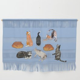 cats cats cats on light blue Wall Hanging