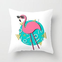 90s Retro Flamingo Throw Pillow