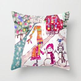 Merry Christmas Snowgirl Throw Pillow