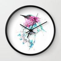 hummingbird Wall Clocks featuring Hummingbird by Alexis Marcou