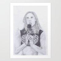 wwe Art Prints featuring WWE AJ LEE by Emma Thamer