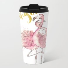 Pink Flamingos Metal Travel Mug