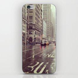 nyc street rain iPhone Skin