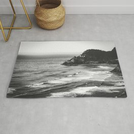 Pacific Northwest Grandeur - Heceda Lighthouse Black and White Rug