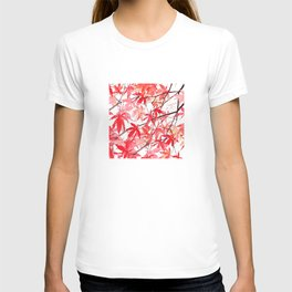 red orange maple leaves watercolor painting 2 T-shirt