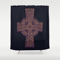 celtic Shower Curtains featuring Celtic Cross by pakowacz