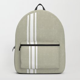 Vintage Country French Grainsack White Stripes Against Linen Color Background Backpack