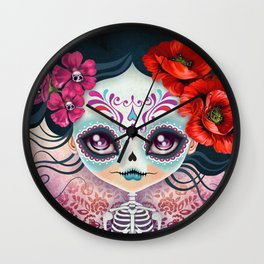 Amelia Calavera - Sugar Skull Wall Clock