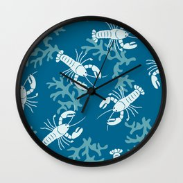 Lobster Toss Navy Wall Clock