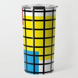 Modern geometric background, red, yellow, green,orange and blue  #society6 #decor #buyart #artprint Travel Mug