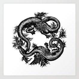 Salamander and Dragon Art Print