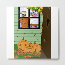 Oliver The Otter Looking at Jack-o-Lanterns Out his Bedroom Window Metal Print