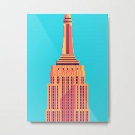 Empire State Building New York Art Deco - Cyan Metal Print