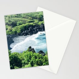 Hawaiian Black Sand Tropical Beach Stationery Cards