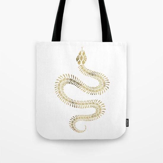 Snake Skeleton – Gold Tote Bag