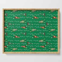 Holiday or Christmas Maine Lobster with Mittens - Green Colorway Serving Tray