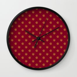 Electric Yellow on Burgundy Red Snowflakes Wall Clock