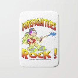 FIRE FIGHTERS ROCK Vibrant Haltone Edition Bath Mat