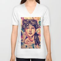agnes V-neck T-shirts featuring Agnes Mackenzie by Olga Noes