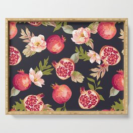 Pomegranate patterns - floral roses fruit nature elegant pattern Serving Tray