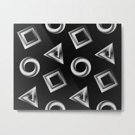 Metallic Shapes Metal Print