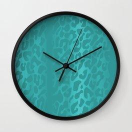 Light Blue Leopard Print Wall Clock