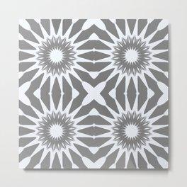 Flannel Gray & White Pinwheel Flower Metal Print