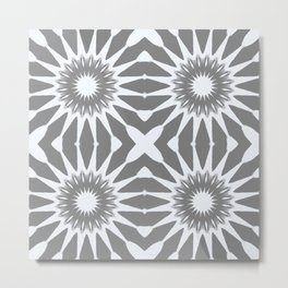 Flannel Gray & White Pinwheel Flower Metal Print