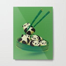 Panda Dumpling Metal Print
