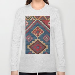Vintage Woven Kilim // 19th Century Colorful Royal Blue Yellow Authentic Classic Ornate Accent Patte Long Sleeve T-shirt