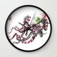 poop Wall Clocks featuring Poop pulpo by Javier Medellin Puyou aka Jilipollo