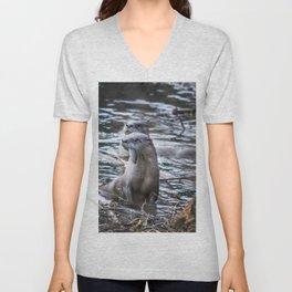Otters Having Breakfast on the River Unisex V-Neck