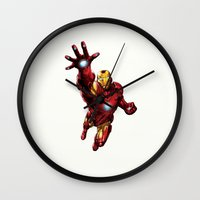 ironman Wall Clocks featuring IRONMAN by Yuliya L