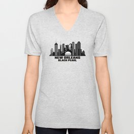 New Orleans Black Pearl Louisiana Skyline Unisex V-Neck