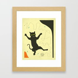 BLACK CAT WITH STRING Framed Art Print