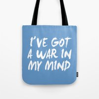 war Tote Bags featuring War by Jeremy Jon Myers