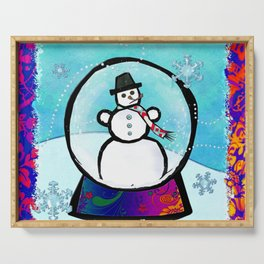 Frost Man Whimsical Christmas Holiday Folk Art Serving Tray
