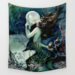Henry Clive: Mermaid with Pearl dark teal Wall Tapestry
