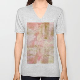 Rustic Gold and Pink Abstract Unisex V-Neck