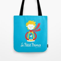 le petit prince Tote Bags featuring Le Petit Prince by Andrea Tobar