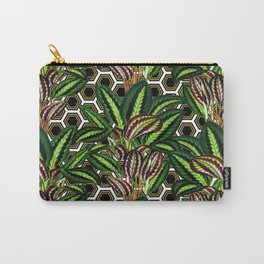 Palm on Polygon Pattern - White Black Gold Carry-All Pouch