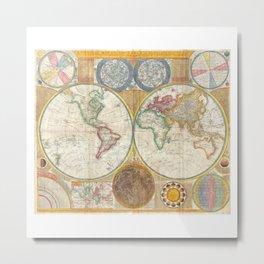 1794 Vintage World Map Samuel Dunn Metal Print