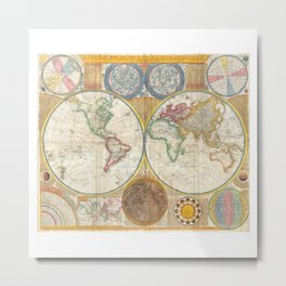 1794 Vintage World Map Samuel Dunn Metal Print