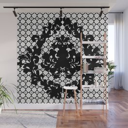 Damask Black and White Victorian Damask Floral Pattern Wall Mural
