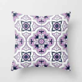 Purple and Navy Tiles Throw Pillow