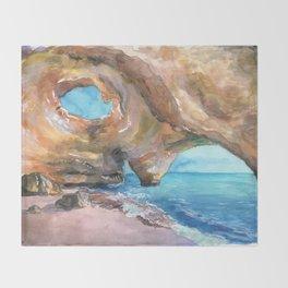 Benagil Cave, Portugal Throw Blanket