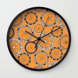 bike wheels amber Wall Clock