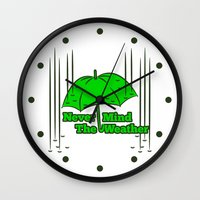 umbrella Wall Clocks featuring Umbrella by mailboxdisco