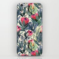 green iPhone & iPod Skins featuring Painted Protea Pattern by micklyn